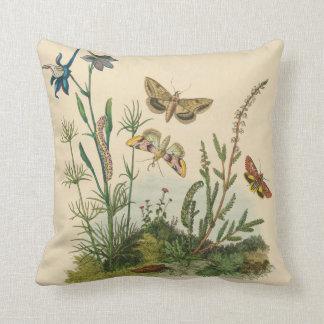 Vintage Garden Insects, Butterflies, Caterpillars Throw Pillow