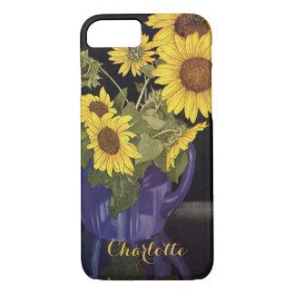 Vintage Garden Summer Sunflower Flowers in a Vase iPhone 7 Case