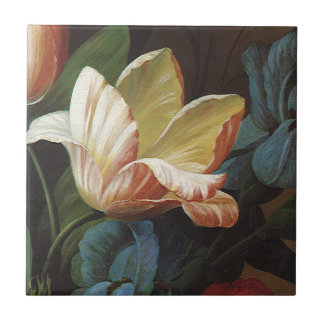 Vintage Garden Tulip in Bloom, Victorian Flowers Tile