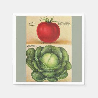 Vintage garden vegetable art, 1913 paper napkin