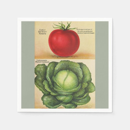 Vintage garden vegetable art, 1913 paper napkins