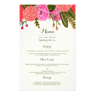 Vintage Garden Wedding Dinner Menu Custom Flyer