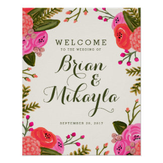 Vintage Garden Wedding Welcome Poster