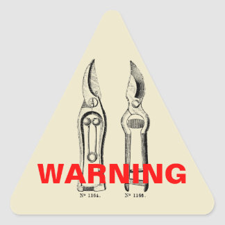 VINTAGE Gardening Tools Pruners Warning Sticker