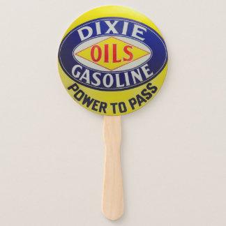Vintage Gas Pump Dixie Oils Gasoline Hot Rod Era Hand Fan