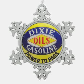 Vintage Gas Pump Dixie Oils Gasoline Hot Rod Era Snowflake Pewter Christmas Ornament