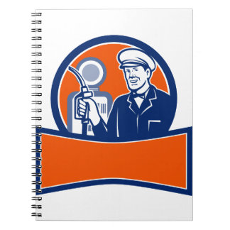 Vintage Gas Station Attendant Circle Retro Notebook