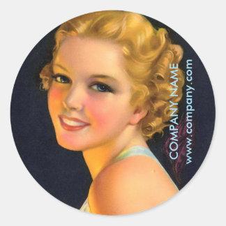 vintage gatsby girl SPA salon hair makeup artist Round Sticker