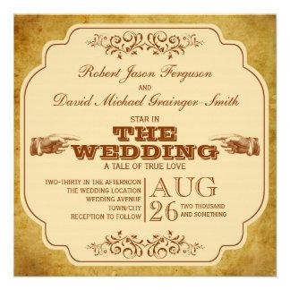 Vintage Gay Wedding Theatre Production Custom Invite