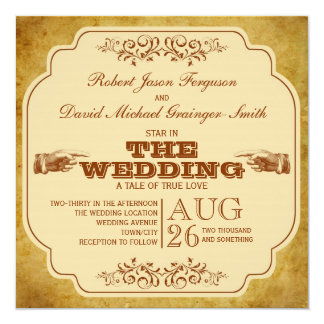 "Vintage Gay Wedding Theatre Production 5.25"" Square Invitation Card"