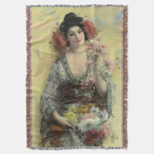 Vintage Geisha Afghan Throw Blanket