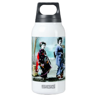 Vintage Geisha and Her Maiko 芸者 舞妓 Old Japan Insulated Water Bottle