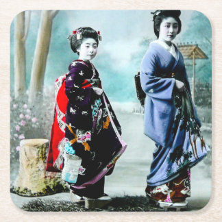 Vintage Geisha and Her Maiko 芸者 舞妓 Old Japan Square Paper Coaster