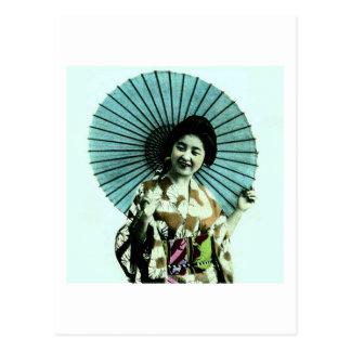 Vintage Geisha and Her Parasol Old Japan Postcard
