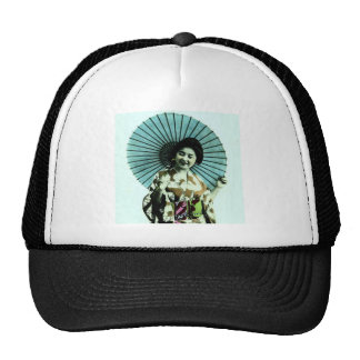 Vintage Geisha and Her Parasol Old Japan Trucker Hat