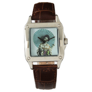 Vintage Geisha and Her Parasol Old Japan Wristwatches