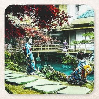 Vintage Geisha at the Kusatsu Tea House Maple Tree Square Paper Coaster