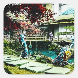 Vintage Geisha at the Kusatsu Tea House Maple Tree Square Sticker