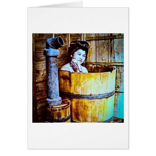 Vintage Geisha Bathing in Wooden Tub in Old Japan Card