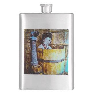 Vintage Geisha Bathing in Wooden Tub in Old Japan Flasks
