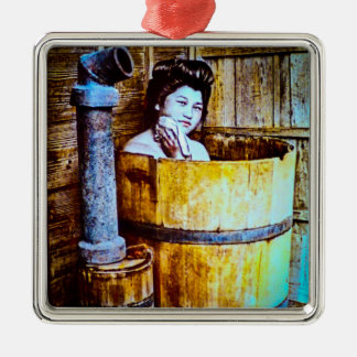 Vintage Geisha Bathing in Wooden Tub in Old Japan Silver-Colored Square Ornament