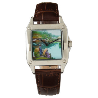 Vintage Geisha By Pond in Hikone Park Japanese Watches