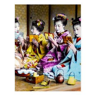 Vintage Geisha Checking Their Makeup at Tea Japan Postcard