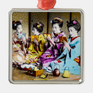 Vintage Geisha Checking Their Makeup at Tea Japan Silver-Colored Square Ornament