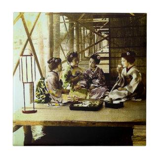 Vintage Geisha Dining Together in Old Japan Dinner Tile