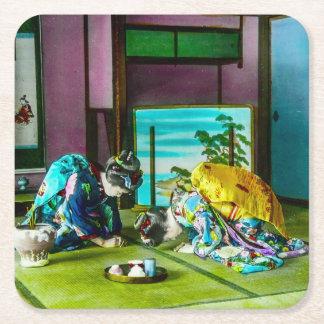 Vintage Geisha Greetings Over Tea Old Japan Square Paper Coaster