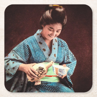 Vintage Geisha Imbibing in a Cup of Sake old Japan Square Paper Coaster