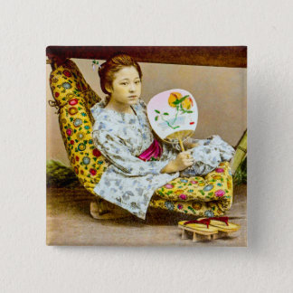 Vintage Geisha in a Norimono Litter Old Japan 2 Inch Square Button