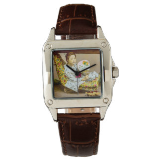 Vintage Geisha in a Norimono Litter Old Japan Wristwatch