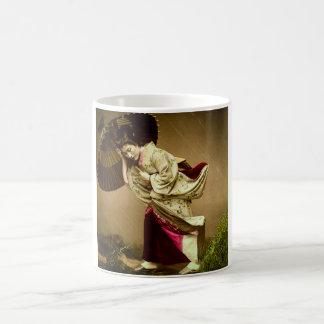 Vintage Geisha in a Springtime Rain Glass Slide Coffee Mug