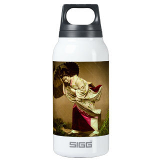 Vintage Geisha in a Springtime Rain Glass Slide Insulated Water Bottle