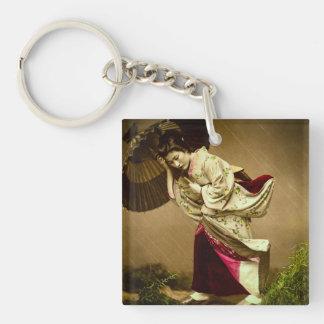 Vintage Geisha in a Springtime Rain Glass Slide Single-Sided Square Acrylic Keychain