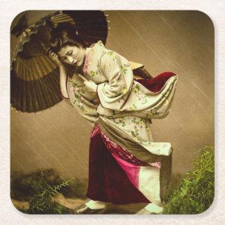 Vintage Geisha in a Springtime Rain Glass Slide Square Paper Coaster