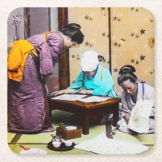 Vintage Geisha in Old Japan Reading Square Paper Coaster