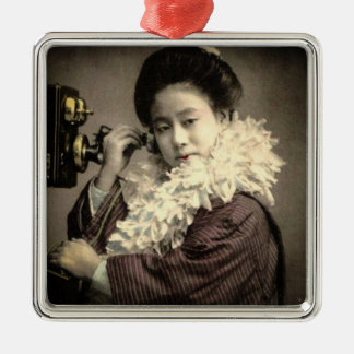 Vintage Geisha Making a Midnight Call in Old Japan Metal Ornament