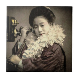 Vintage Geisha Making a Midnight Call in Old Japan Tile