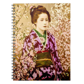 Vintage Geisha Posing in Cherry Blossoms Notebook