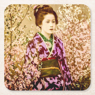 Vintage Geisha Posing in Cherry Blossoms Square Paper Coaster