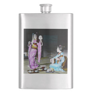 Vintage Geisha Practicing Classic Noh Dancing Hip Flask