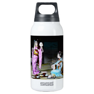 Vintage Geisha Practicing Classic Noh Dancing Insulated Water Bottle