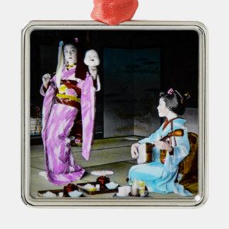 Vintage Geisha Practicing Classic Noh Dancing Metal Ornament