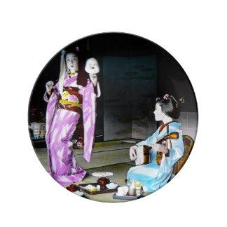 Vintage Geisha Practicing Classic Noh Dancing Porcelain Plate