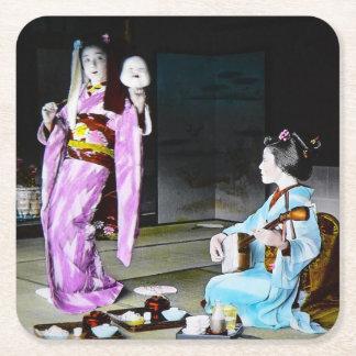 Vintage Geisha Practicing Classic Noh Dancing Square Paper Coaster