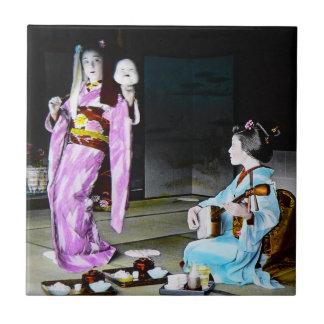 Vintage Geisha Practicing Classic Noh Dancing Tile