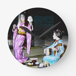 Vintage Geisha Practicing Classic Noh Dancing Wallclocks