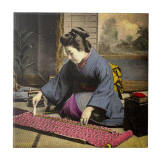 Vintage Geisha Preparing Her Kimono in Old Japan Ceramic Tile